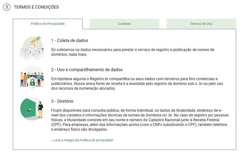 Leia os termos e condições, marque a opção de aceite, e clique em registrar.