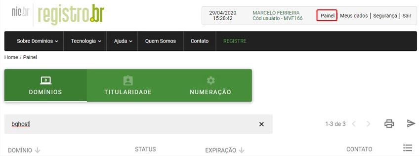 No site do Registro.br, e clique em painel.