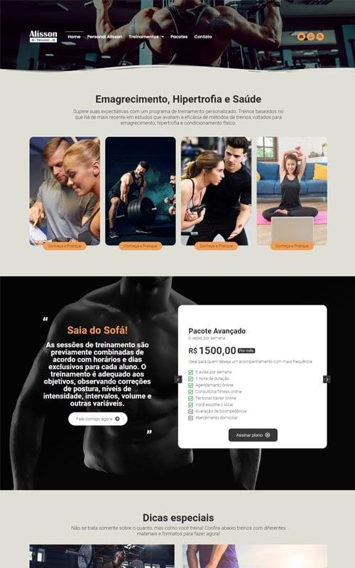 Alisson - Site para personal trainer, preparador físico, academias e educador físico