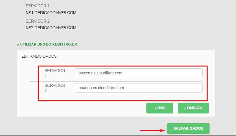 Atualizar DNS registro BR