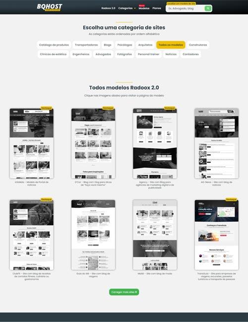 Centenas de modelos de sites profissionais