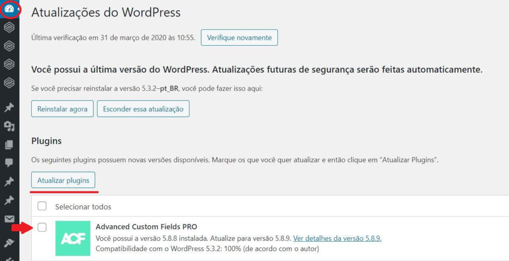 Como atualizar os plugins no WordPress