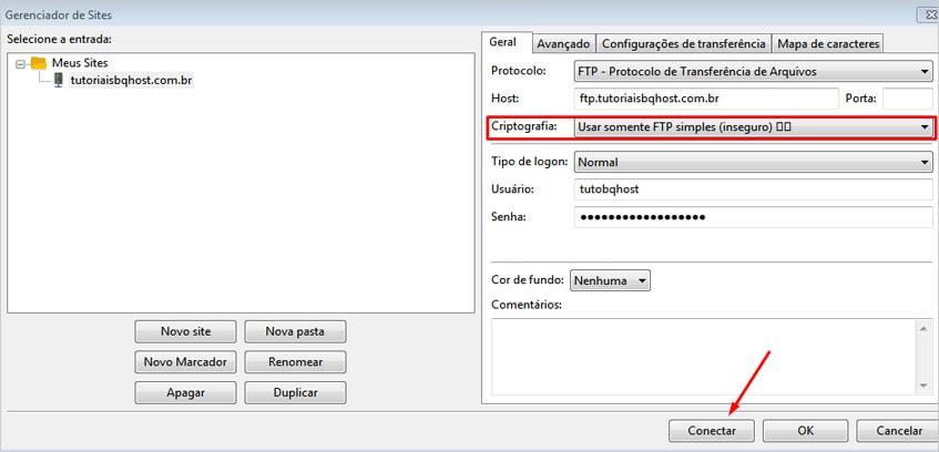 Configurando o filezilla