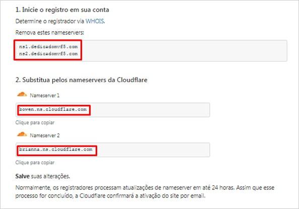 Configurando os DNS do cloudflare