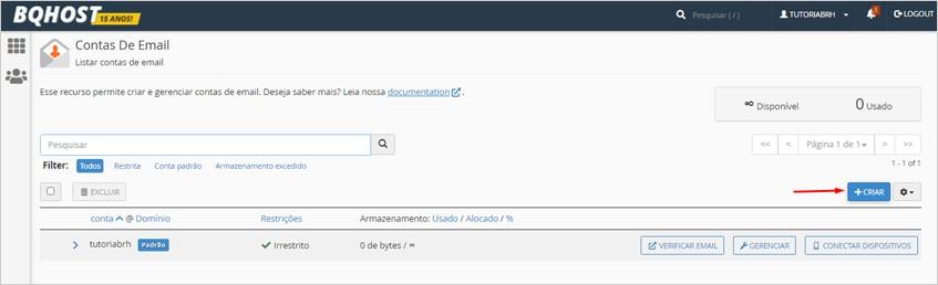 Criar contas de email no cPanel