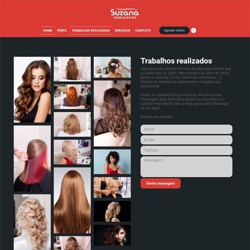 Crie um site para você cabeleireiro, com o modelo Suzana e exiba fotos de todos seus trabalhos