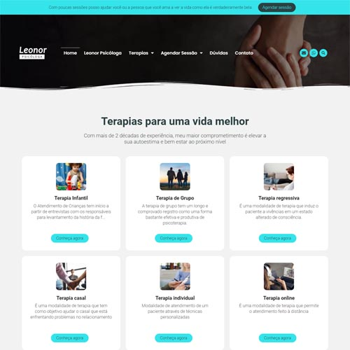 Crie um site para você psicólogo com o modelo Leonor, com agendamento online de consulta