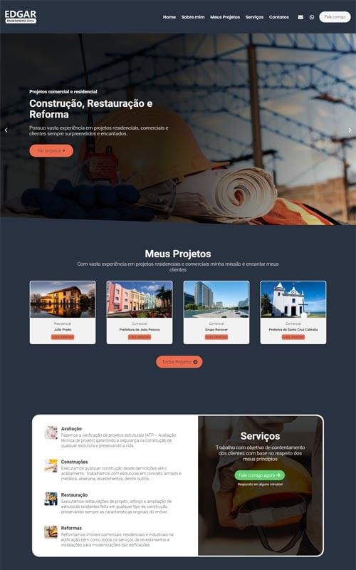 Edgar - Site para engenheiro civil autônomo e escritórios e empresas de engenharia civil