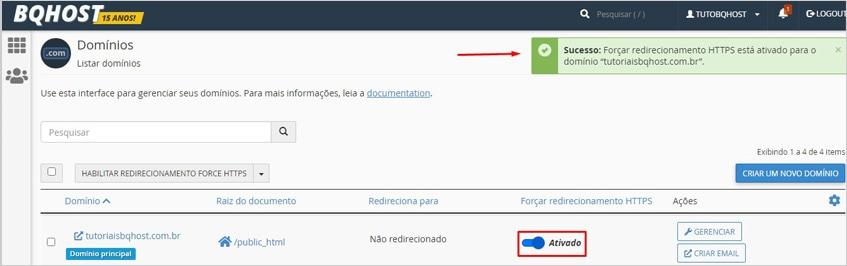 Forçar o HTTPS pelo cPanel
