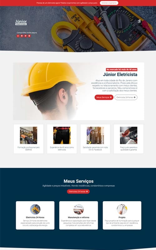Junior - Site para eletricista autônomo e empresas de eletricistas