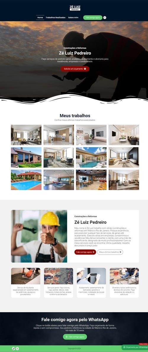Página Inicial Zé Luiz - Site para pedreiro autônomo