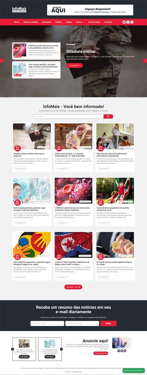 Página Inicial modelo InfoMais - Modelo de Portal de notícias.