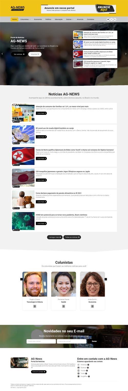 Página inicial AG-News- Site com blog de notícias.
