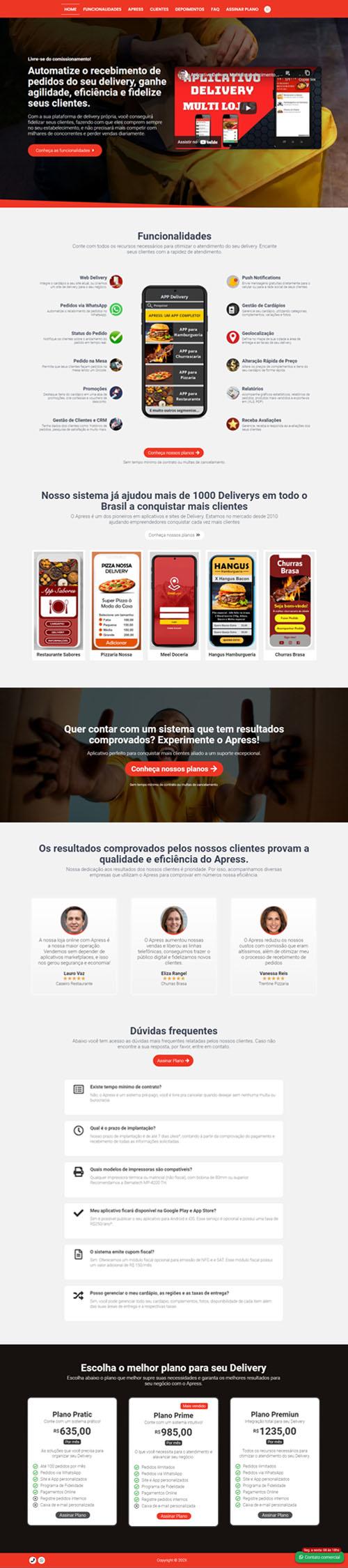 Página inicial Apress - Modelo de página de vendas para vender aplicativo e software