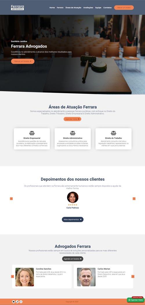 Página inicial Ferrara - Modelo de Site para escritório de advocacia e advogados associados