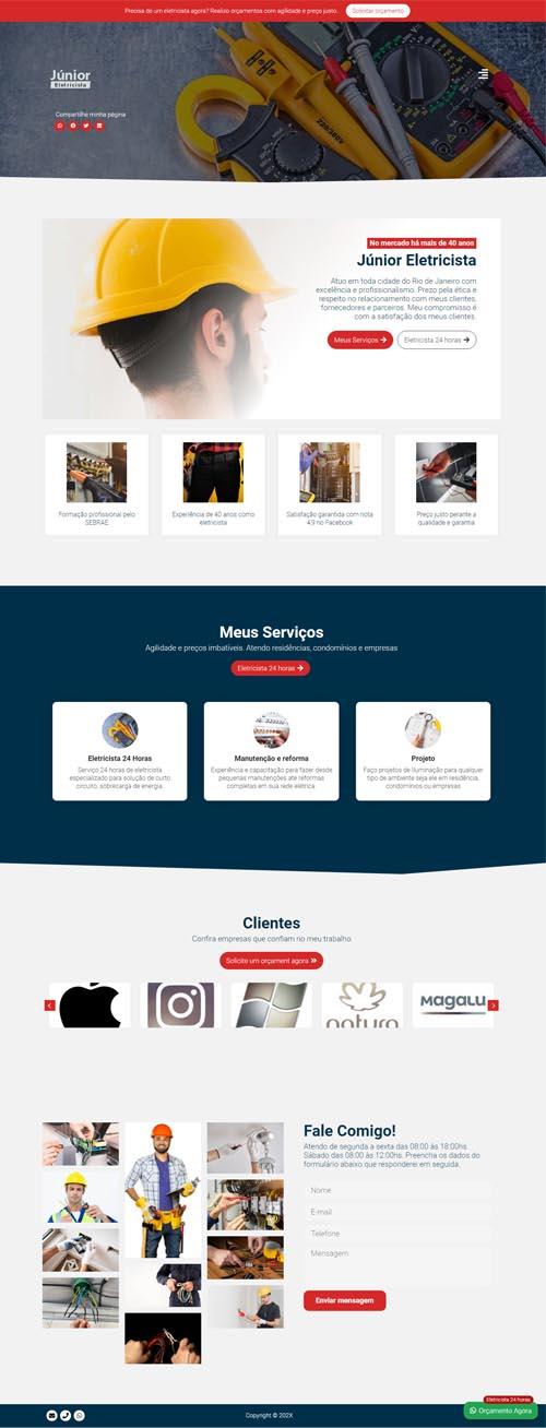 Página inicial Junior - Site para eletricista autônomo e empresas de eletricistas