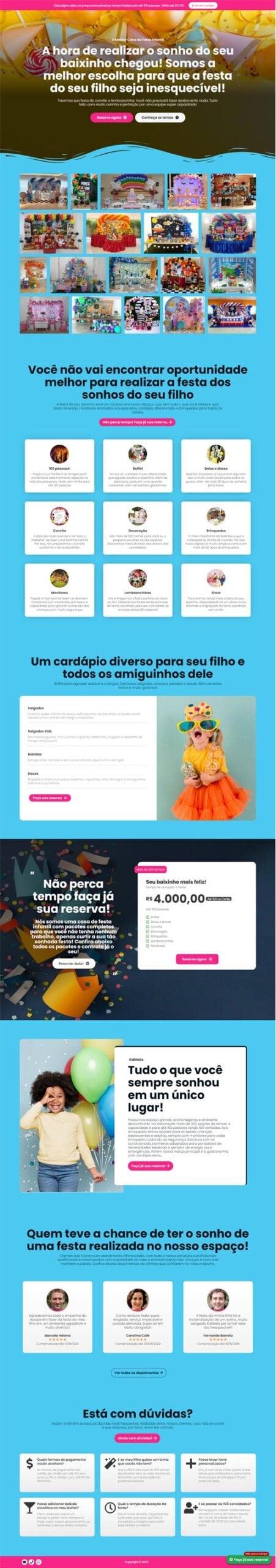 Página inicial KidMaiis - Modelo de landing page para vendas de serviços