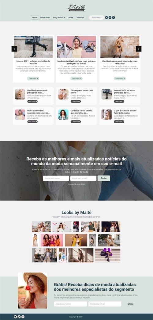 Página inicial Modelo Maitê - Site com blog de moda feminina