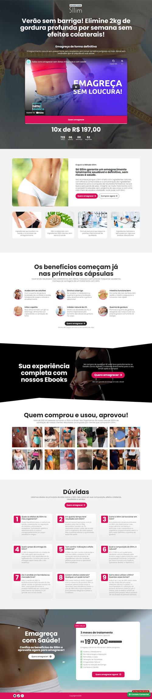 Página inicial Sllim- Modelo de landing page para vendas de produtos