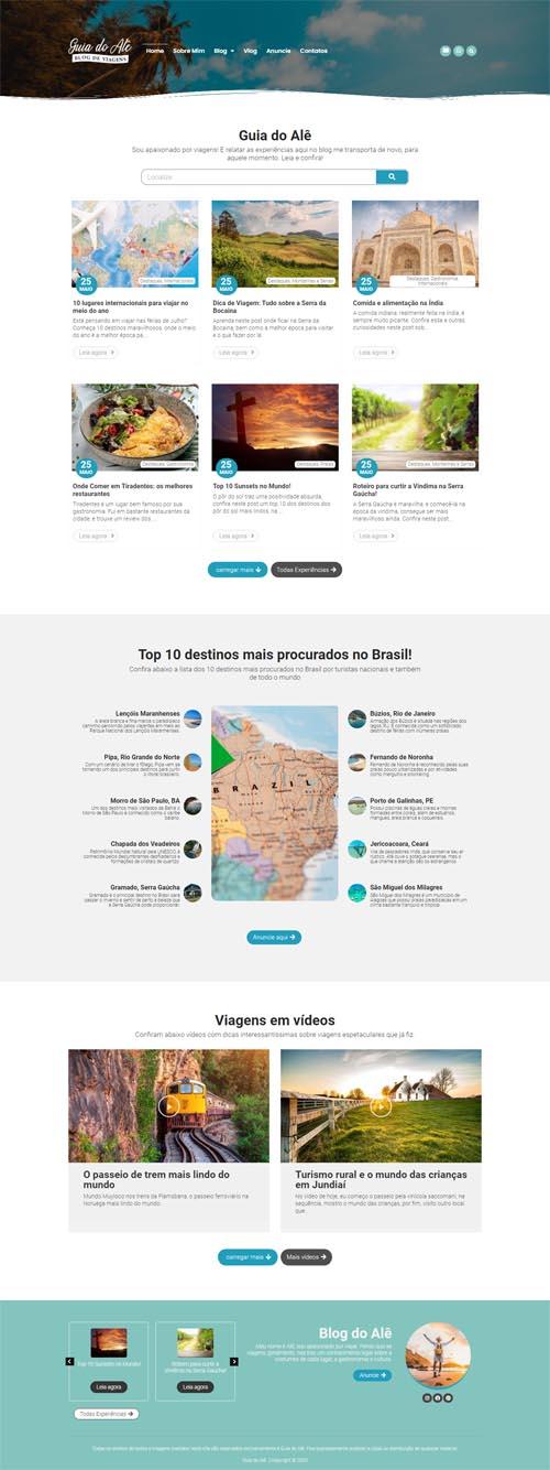 Página inicial completa Guia do Alê. Site com blog de viagens