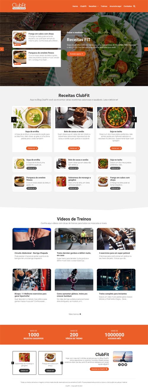 Página inicial completa modelo ClubFit - Site com blog de receitas de comidas fitness, culinária ou gastronomia.