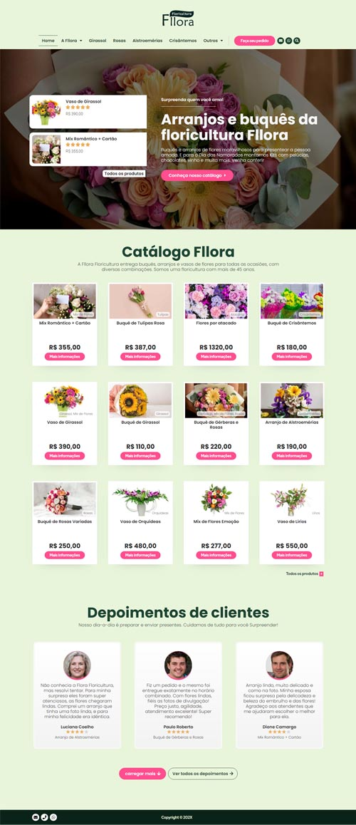 Página inicial completa modelo Fllora- Site para floricultura, empresas de flor e produtores de flores