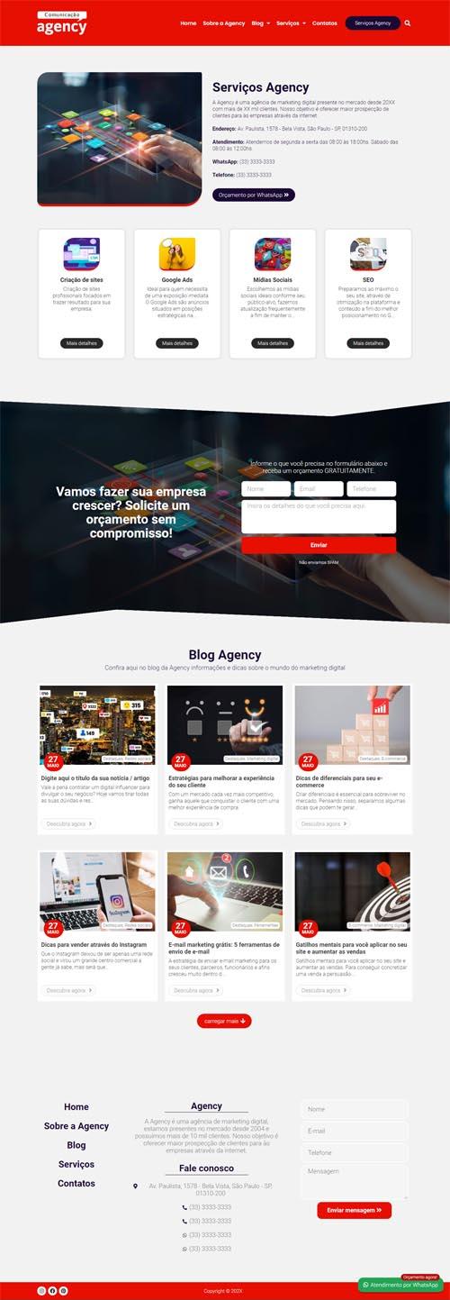 Página inicial do modelo Agency - Site com Blog para agências de marketing digital e de publicidade.