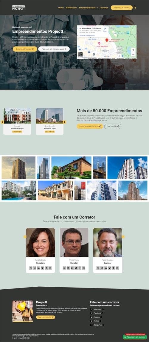 Página inicial do modelo Projectt - Site para Construtoras e Incorporadoras