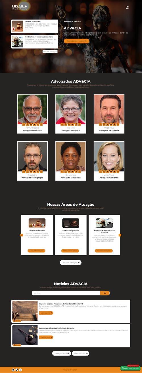 Página inicial modelo ADV&CIA - Site para empresas de consultoria jurídica, advogados e escritório de advocacia