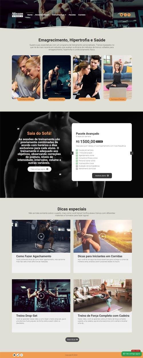 Página inicial modelo Alisson - Site para personal trainer, preparadores físicos, academias e educadores físicos