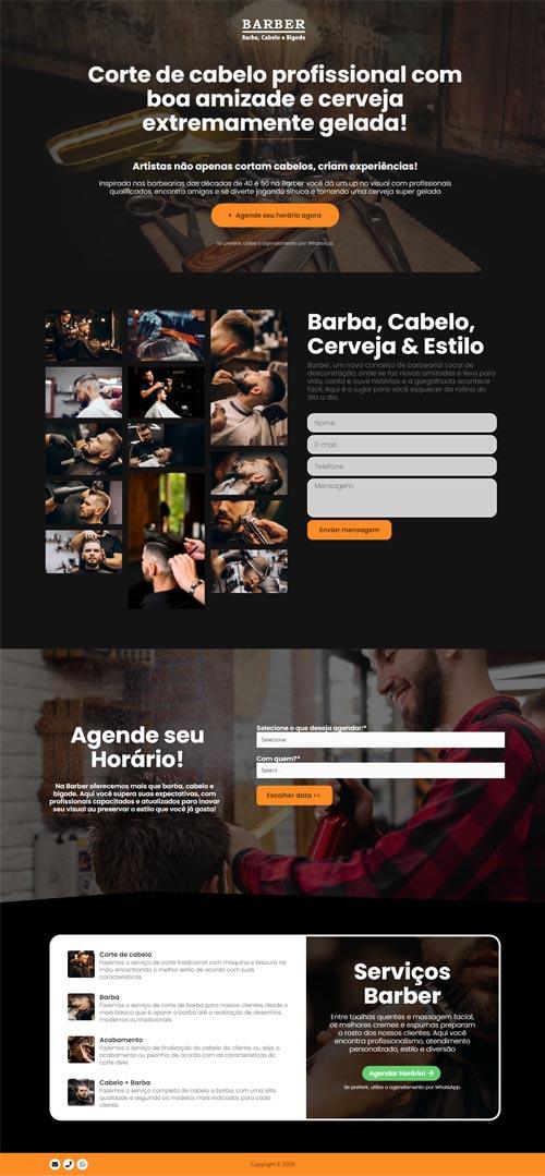 Página inicial modelo Barber - Site para barbearias ou barbeiros autônomos