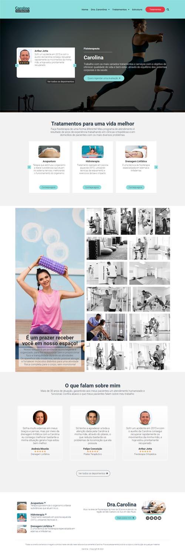 Página inicial modelo Carolina - Site para fisioterapeutas, clínicas de fisioterapia e studios de pilates