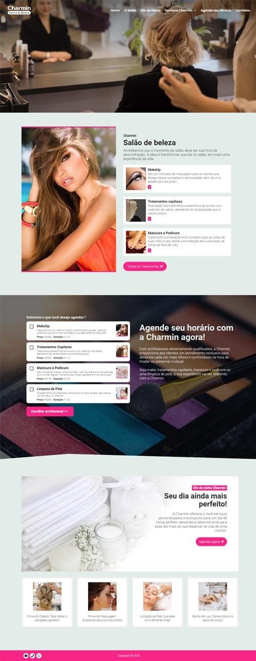 Página inicial modelo Charmin - Site para salões de beleza, barbearias, cabeleireiros, manicures e depiladores