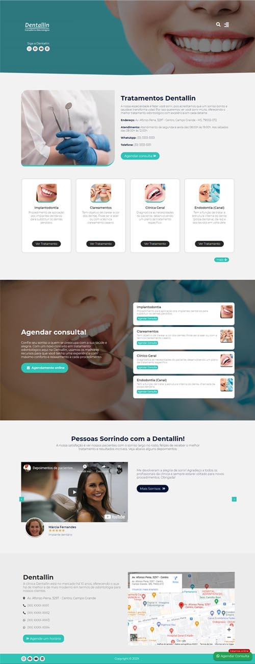 Página inicial modelo Dentallin - Site para clínicas odontológicas, dentistas e consultórios de odontologia