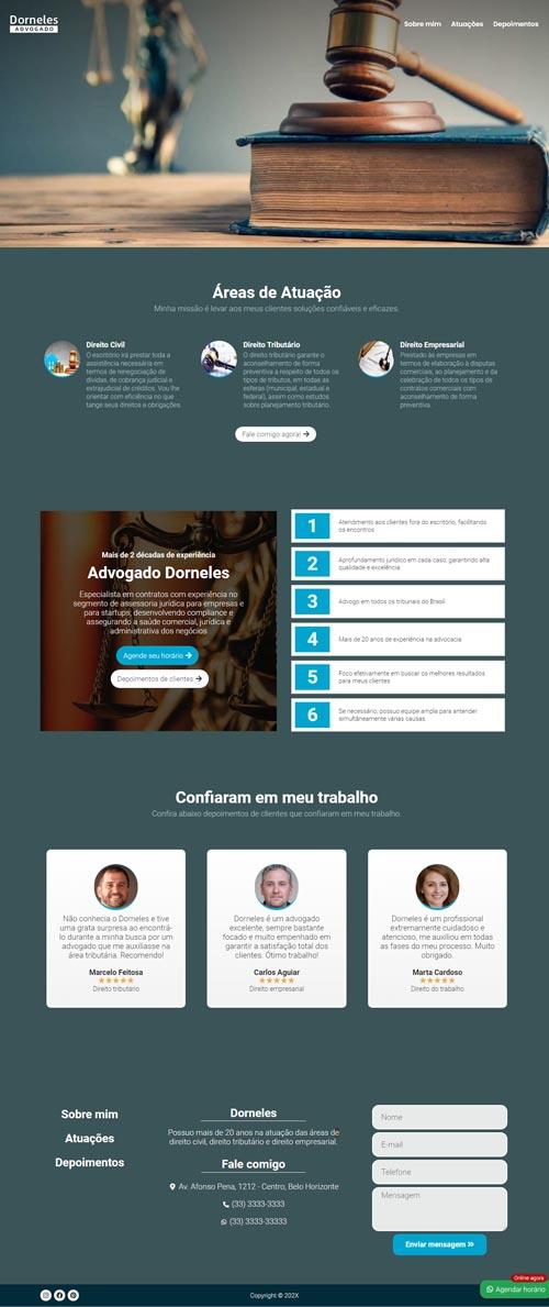 Página inicial modelo Dorneles - Site para advogados e escritório de advocacia