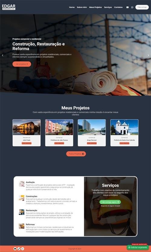 Página inicial modelo Edgar - Site para engenheiro civil autônomo, escritórios e empresas de engenharia civil.