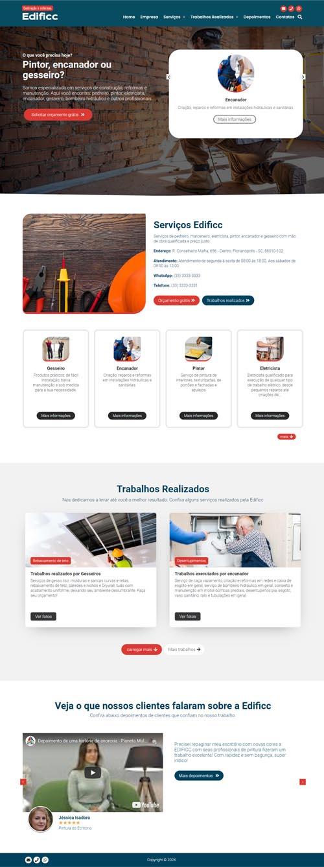Página inicial modelo Edificc - Site para empresa de reforma e manutenção ou profissional pintor, encanador e marceneiro