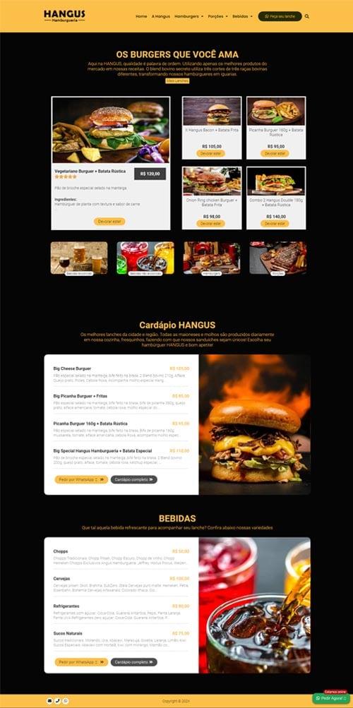 Página inicial modelo HANGUS - Site para Hamburguerias, Pizzarias, Food Trucks, e Hot Dogs