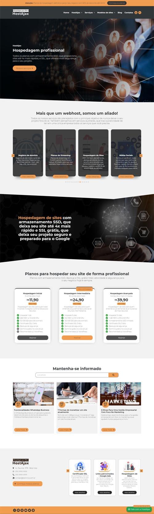 Página inicial modelo HostAjax - Site para empresas de hospedagem de sites e agências de marketing digital