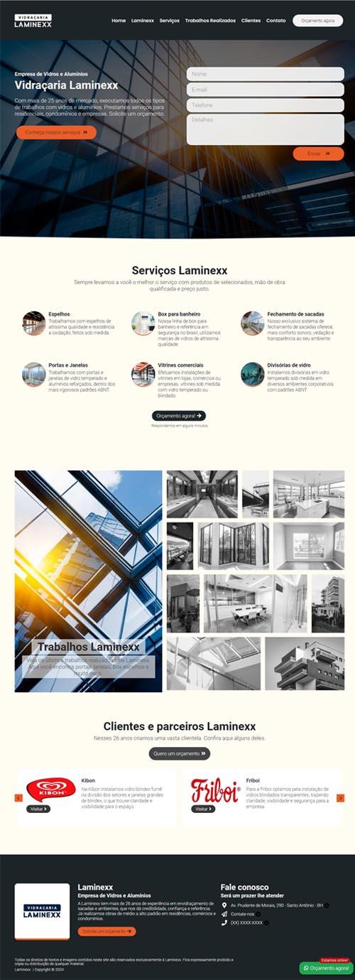 Página inicial modelo Laminexx - Site para vidraçarias e empresas de vidros, alumínios e box