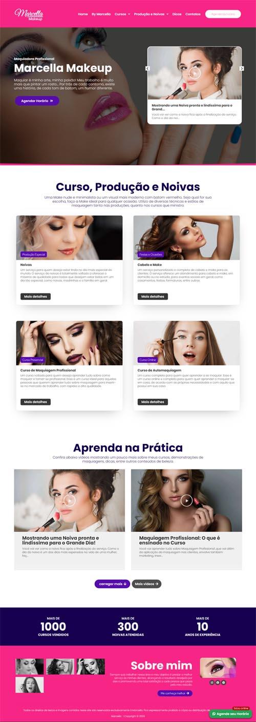 Página inicial modelo Marcella - Site para maquiador, estúdios de maquiagem e makeup