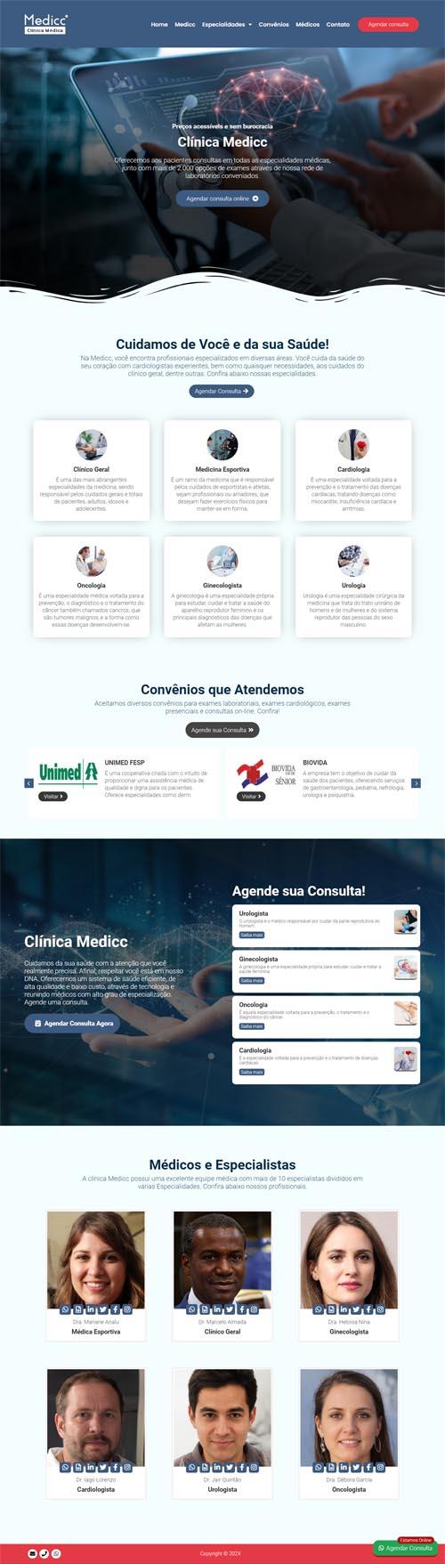 Página inicial modelo Medicc - Site para médicos autônomos, clinica de médicos ou consultórios médicos.