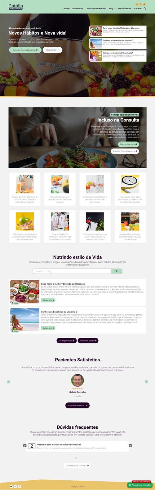 Página inicial modelo Natália - Site para Nutricionistas e Clínica ou Consultório de Nutrição