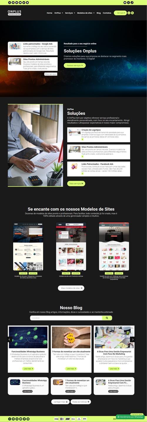 Página inicial modelo Onplus - Site para agências digitais, webdesigner, desenvolvedores, empresas de publicidade, comunicação e marketing online