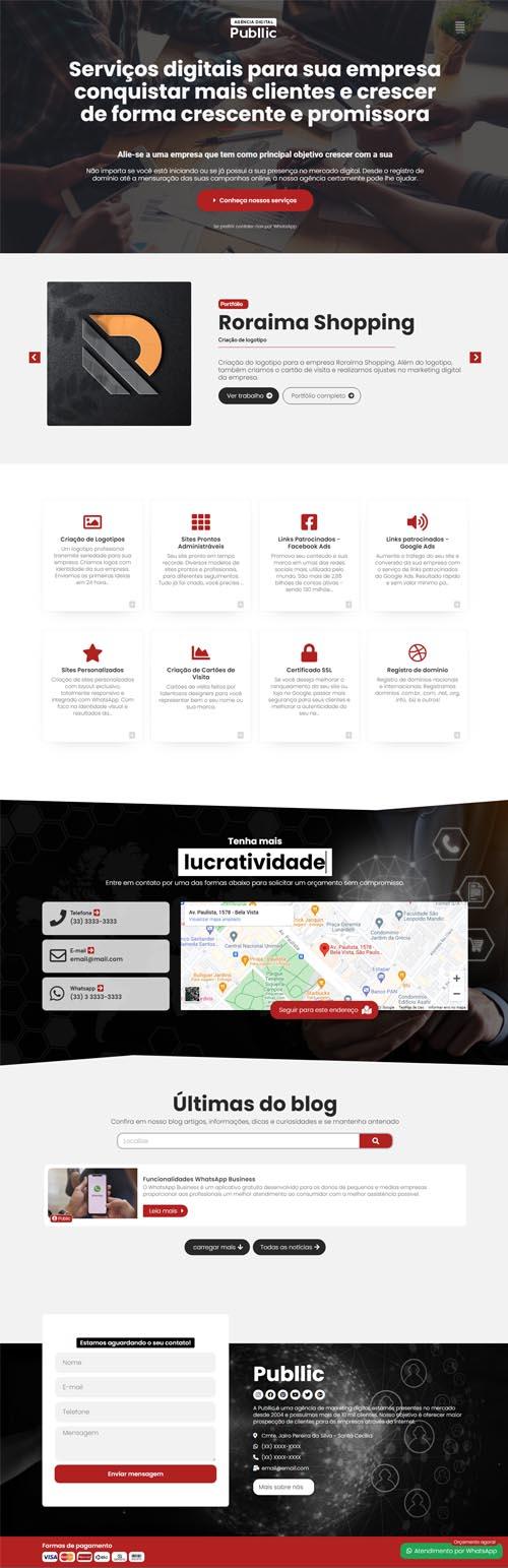 Página inicial modelo Publlic - Site para agências de marketing digital, webdesigner, desenvolvedores e agências de publicidade e comunicação
