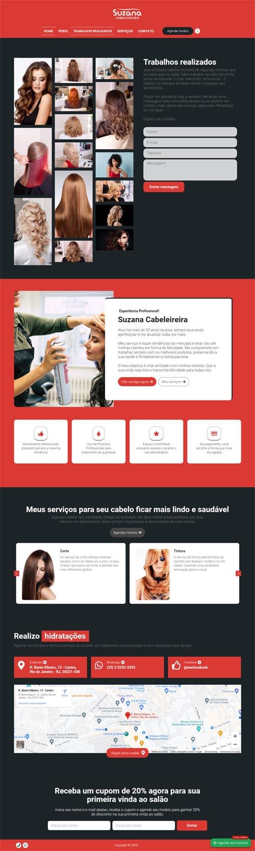 Página inicial modelo Suzana - Site para cabeleireiros, depiladores, manicures, pedicures, barbeiros, salão de beleza e barbearias