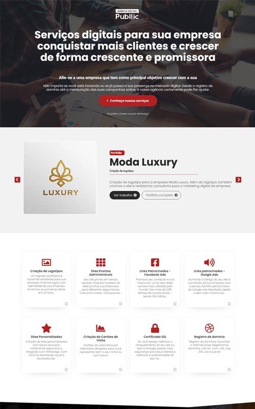 Publlic - Site para agências de marketing digital, webdesigner, desenvolvedores e agências de publicidade e comunicação