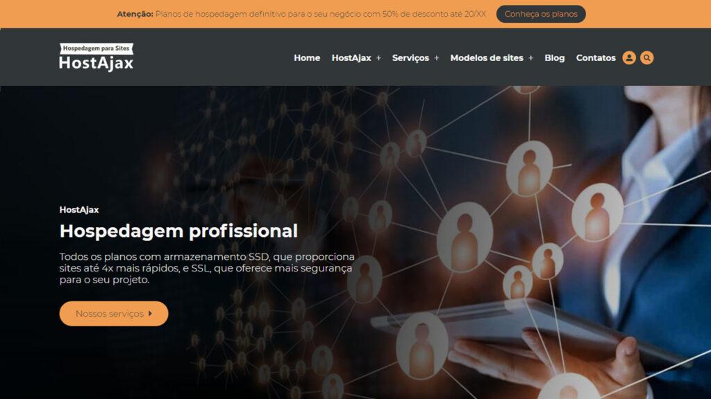 Site Revenda Modelo 3 HostAjax - Site profissional para empresa de hospedagem