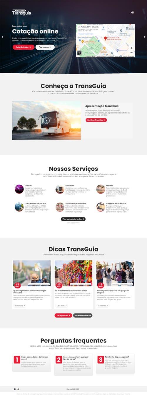 TransGuia - Site para empresas de viagens, excursões, passeios turísticos e transporte de pessoas