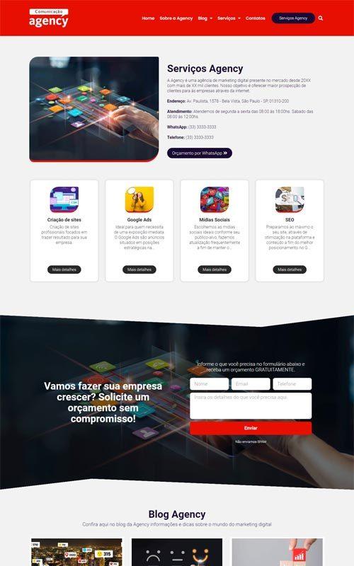 Agency - Site com Blog para agências de marketing digital e de publicidade.